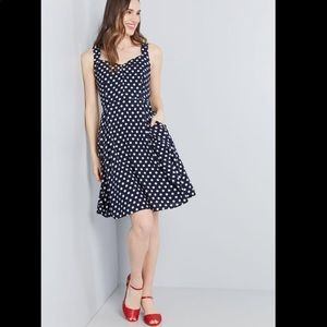 ModCloth Retro Glow A-Line Polka Dot Dress Medium